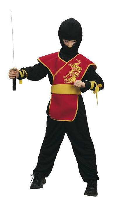 Tlg ninja kostüm schwarz rot samurai kinder 116 122 4 6 jahre 8689