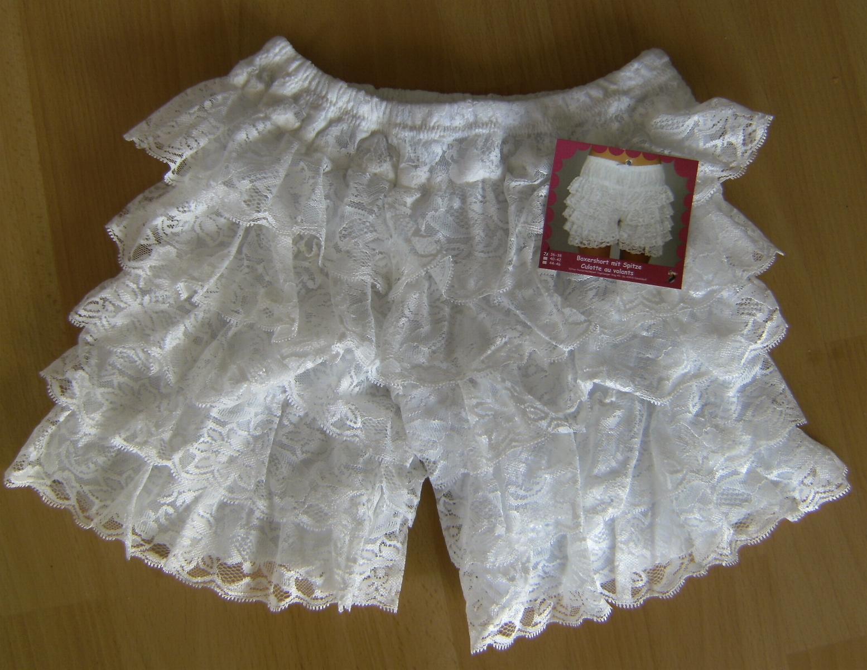 Rumba Ruffle Panties Boxer Shorts With Leg White Lace
