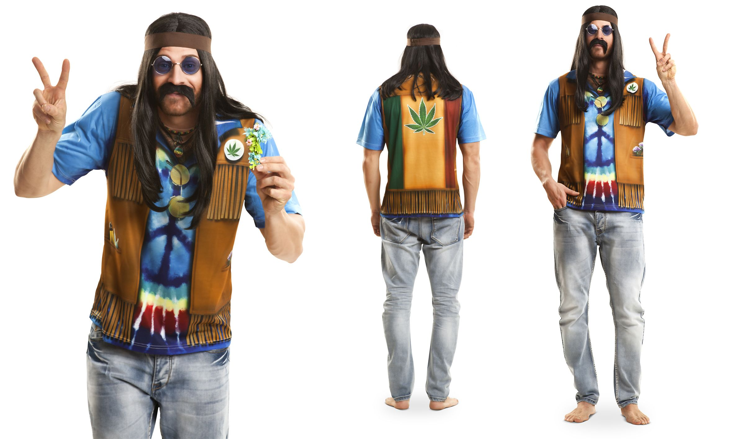 hippie t shirt 60er 70er jahre top fotodruck herren m. Black Bedroom Furniture Sets. Home Design Ideas