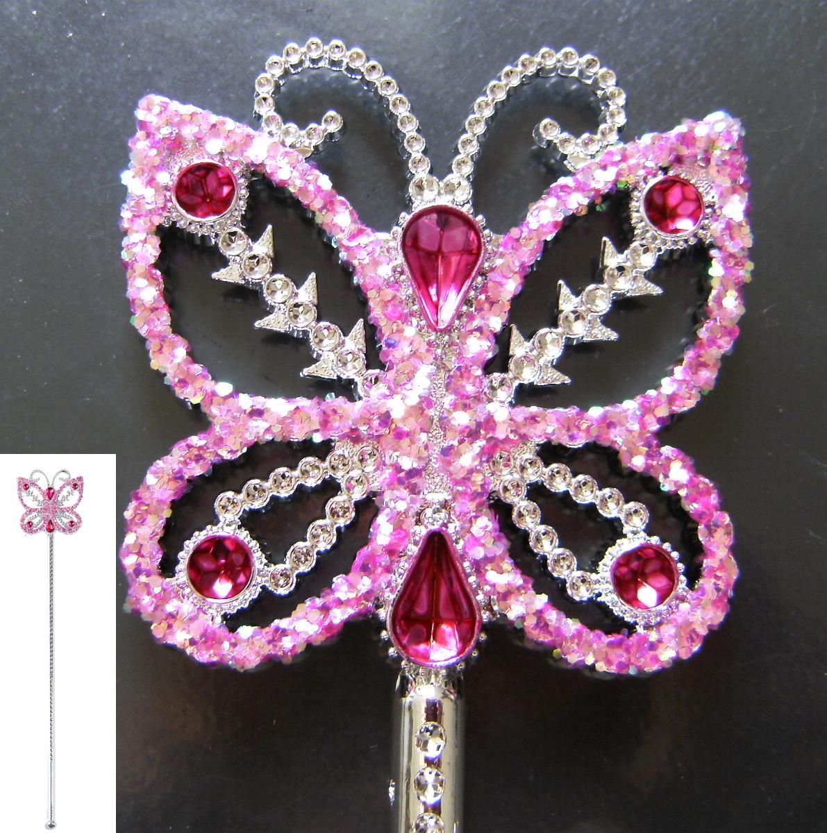 feenstab schmetterling prinzessin pink rosa glitzer m schmucksteinen 40 cm ebay. Black Bedroom Furniture Sets. Home Design Ideas
