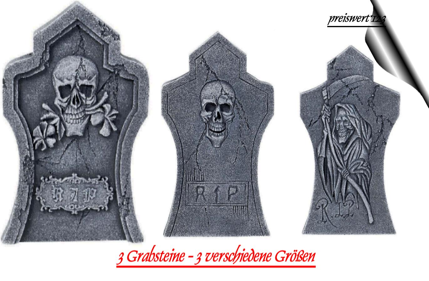 Grabsteine 3 Tlggrabstein Set Horror Halloween Styropor