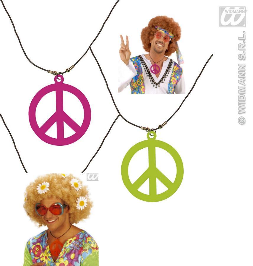 Halskette, Kette Neon Peace Hippie, Flower, 70er Jahre, Motto 5007
