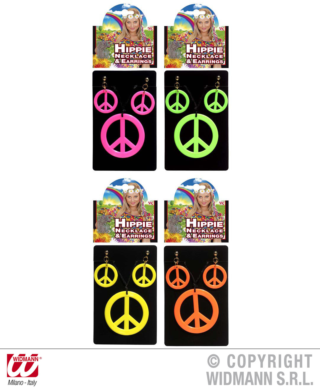 3 tlg. Halskette + Ohrringe ,Peace Hippie, 70er Jahre, Motto 5347