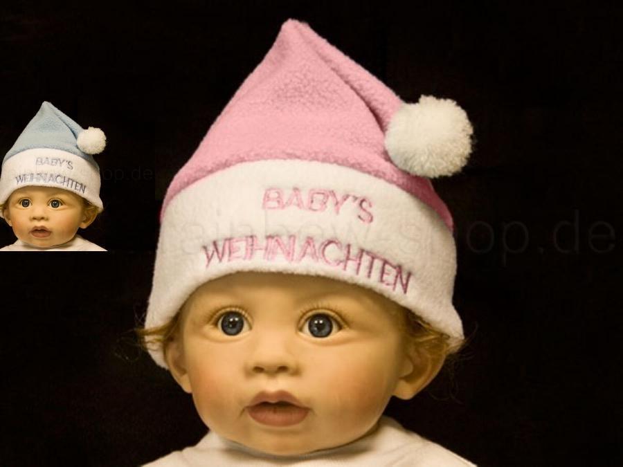 Weihnachtsmütze Kleinkind Baby  Mädchen Junge, blau rosa