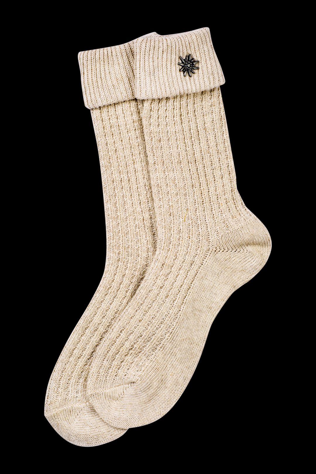 Trachten Dirndl Hosen Kniestrümpfe Socken Damen beige kurz Zopfmuster