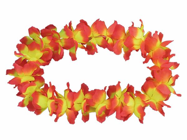 2 x Hawaiikette Blumenkette, orange gelb dicke  Blüten,12 cm