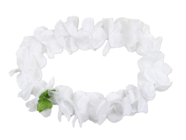 2x Hawaiikette Blumenkette, weiß m. grünem Blatt dicke Blüten,Hochzeit