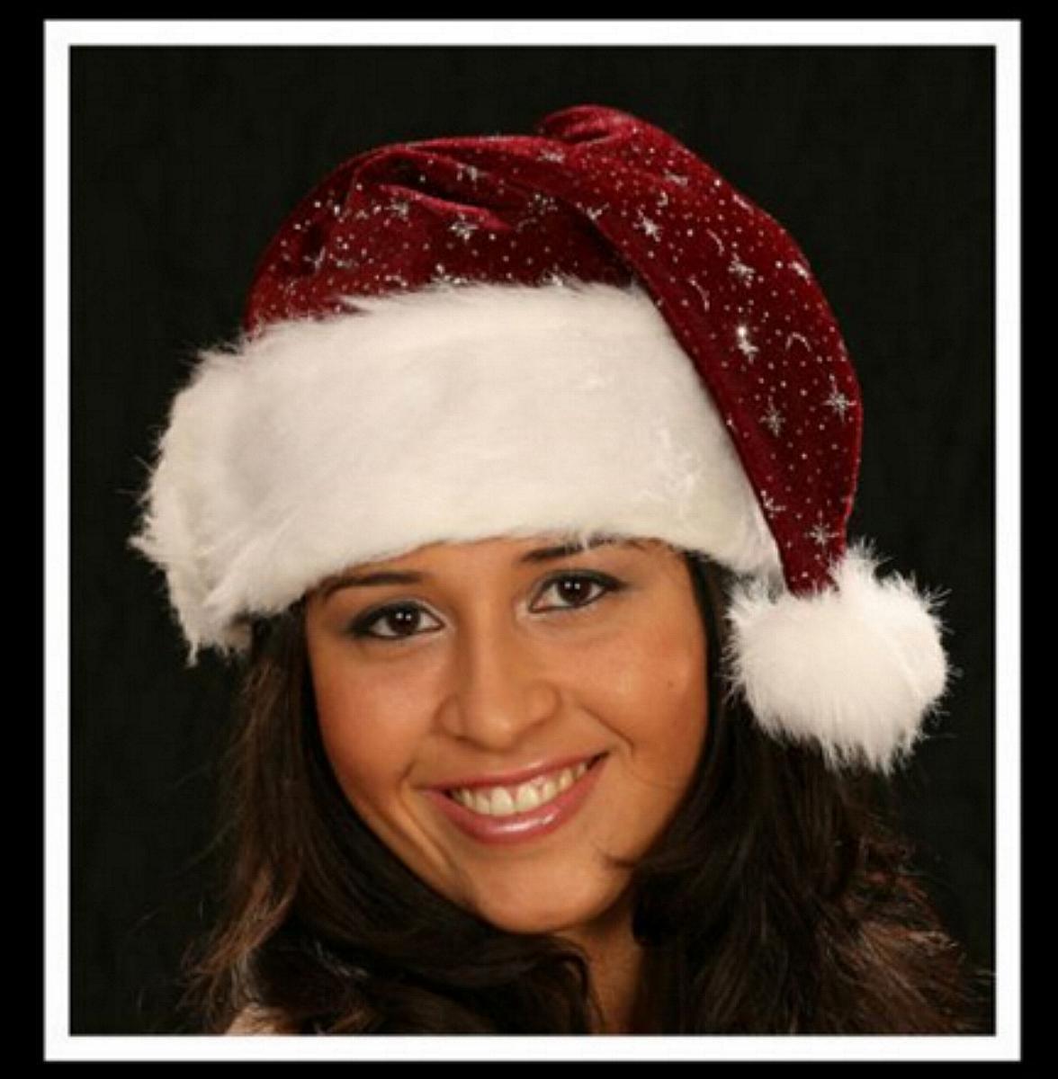 Weihnachtsmütze, Plüsch Glitzersterne, Pelzrand bordeaux ,EDEL
