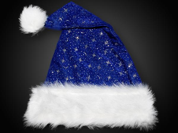 Weihnachtsmütze Blau, LEUCHTBOMMEL Samtstoff, Plüsch Pelzrand Glitzer
