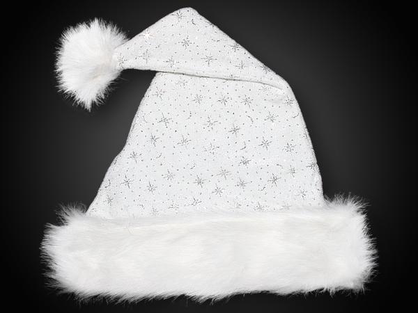 Weihnachtsmütze, Samtstoff, Glitzersterne, Pelzrand WEISS Edel 05