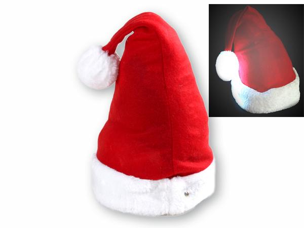 Weihnachtsmütze ROT, LEUCHTBOMMEL weicher Filz, Plüsch Pelzrand