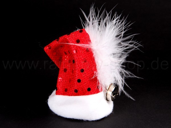 Mini kleine Weihnachtsmütze, Nikolausmütze rot, Haarclip Pailletten,Glocke