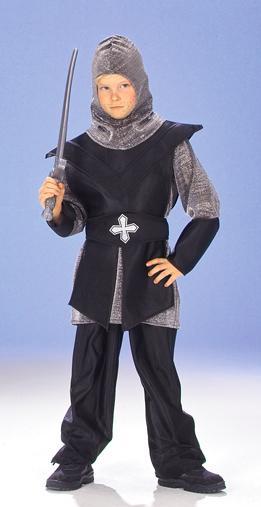 5-tlg. RITTER Kostüm, Kettenhemd,schwarz-silber hochwertig 128,140,152