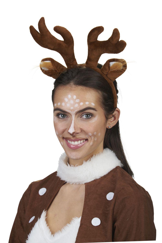 Rehkitz Reh Haarreif Damen Braun Geweih Ohren Plusch Weihnachten