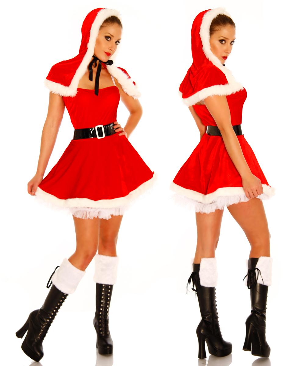5 tlg. Weihnachts -Petticoat-Kostüm Damen mit Kapuzenstola