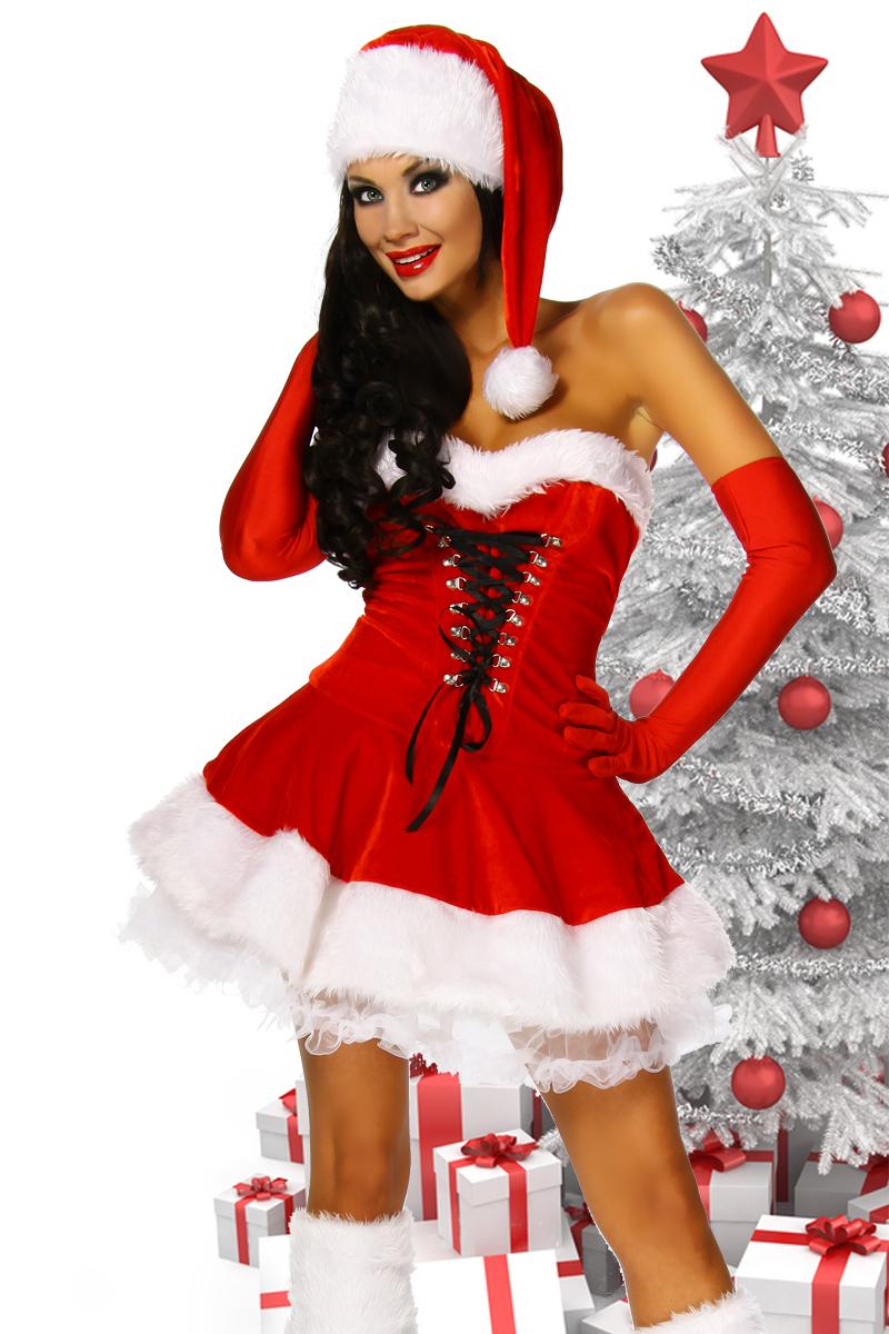 4 tlg. Petticoat Kleid Kostüm Weihnachtskostüm Damen