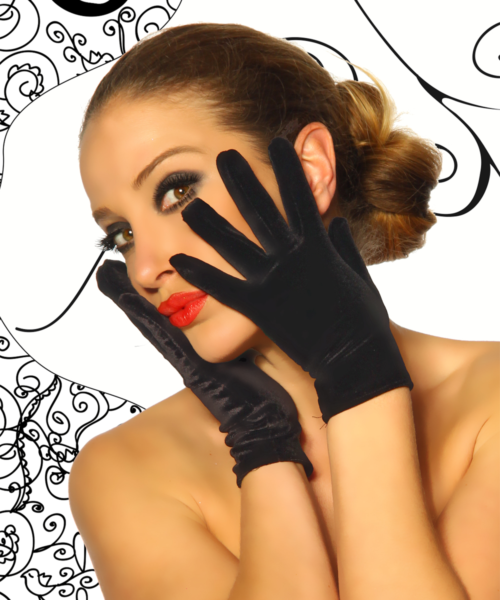 Edle kurze Samt Handschuhe schwarz Damen