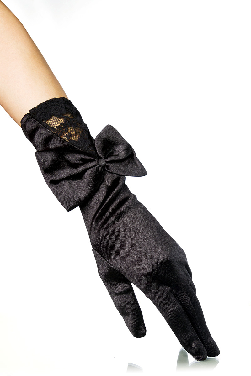 1 Paar edle Finger Handschuhe schwarz Satin, Schleife Damen Burlesque