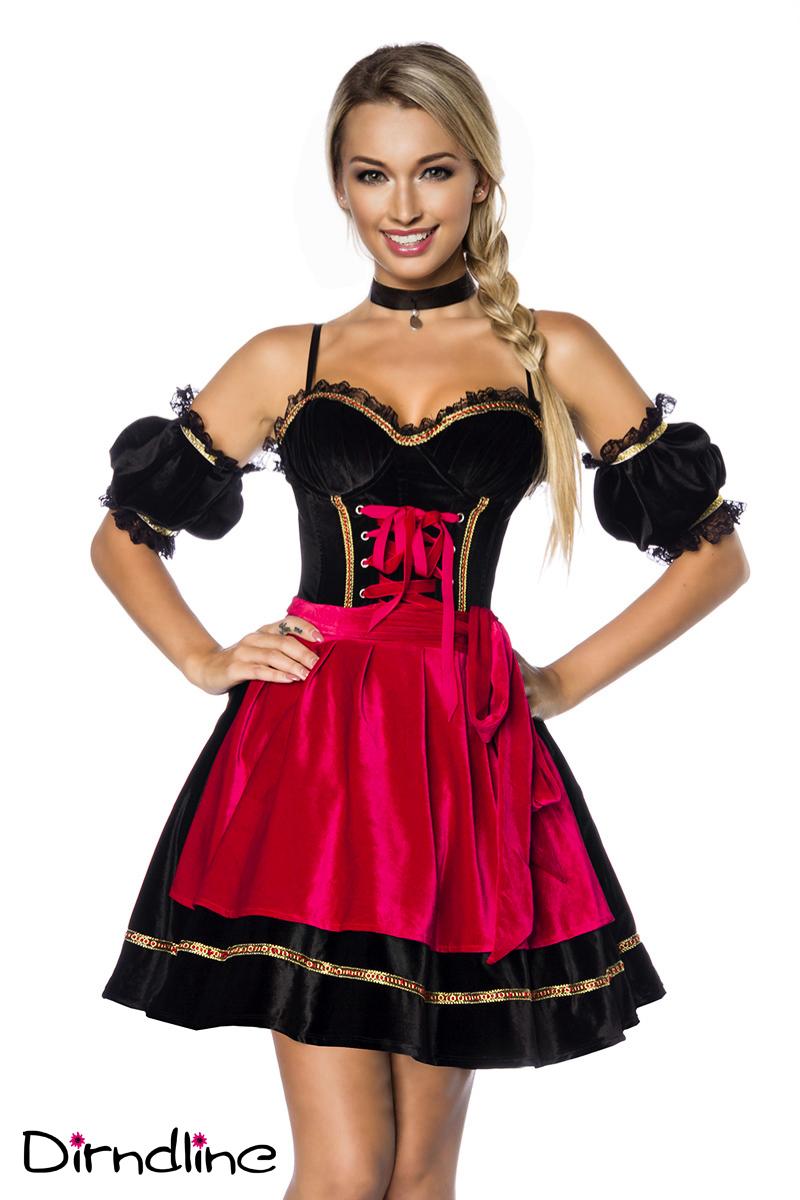 4 tlg.Dirndl + Schürze SAMT rot schwarz Damen Oktoberfest Wiesn L-XL