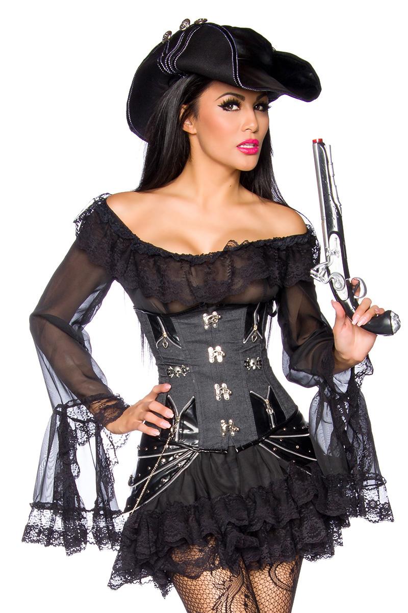 Burlesque Gothic sexy Long Bluse/Kleid,String, schwarz Tüll Spitze Damen