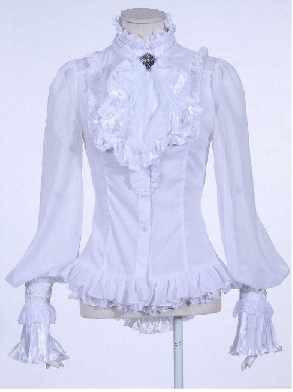 Weiße Long  Bluse mit Jabot, Spitze, Zierschnürung Damen