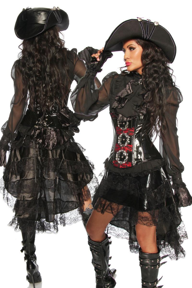 Sexy Volantrock schwarz gestuft Gothic Style Satin, Spitze Damen