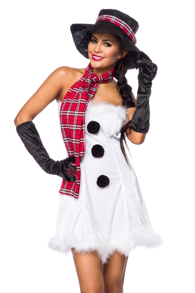 5 tlg. Schneemann Weihnachts Kostüm Damen Hut Schal Handschuhe