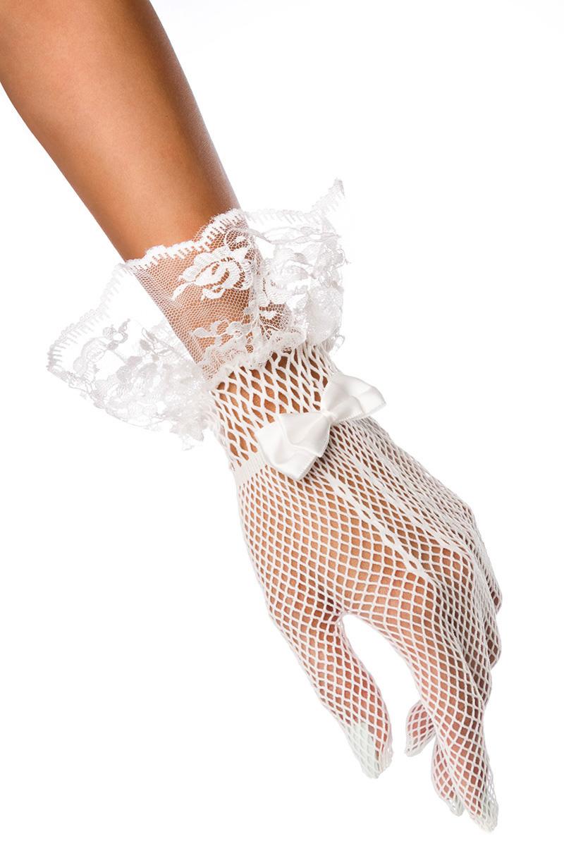1 Paar weiße Netzhandschuhe m Spitzenbesatz, Schleife Hochzeit Glamour
