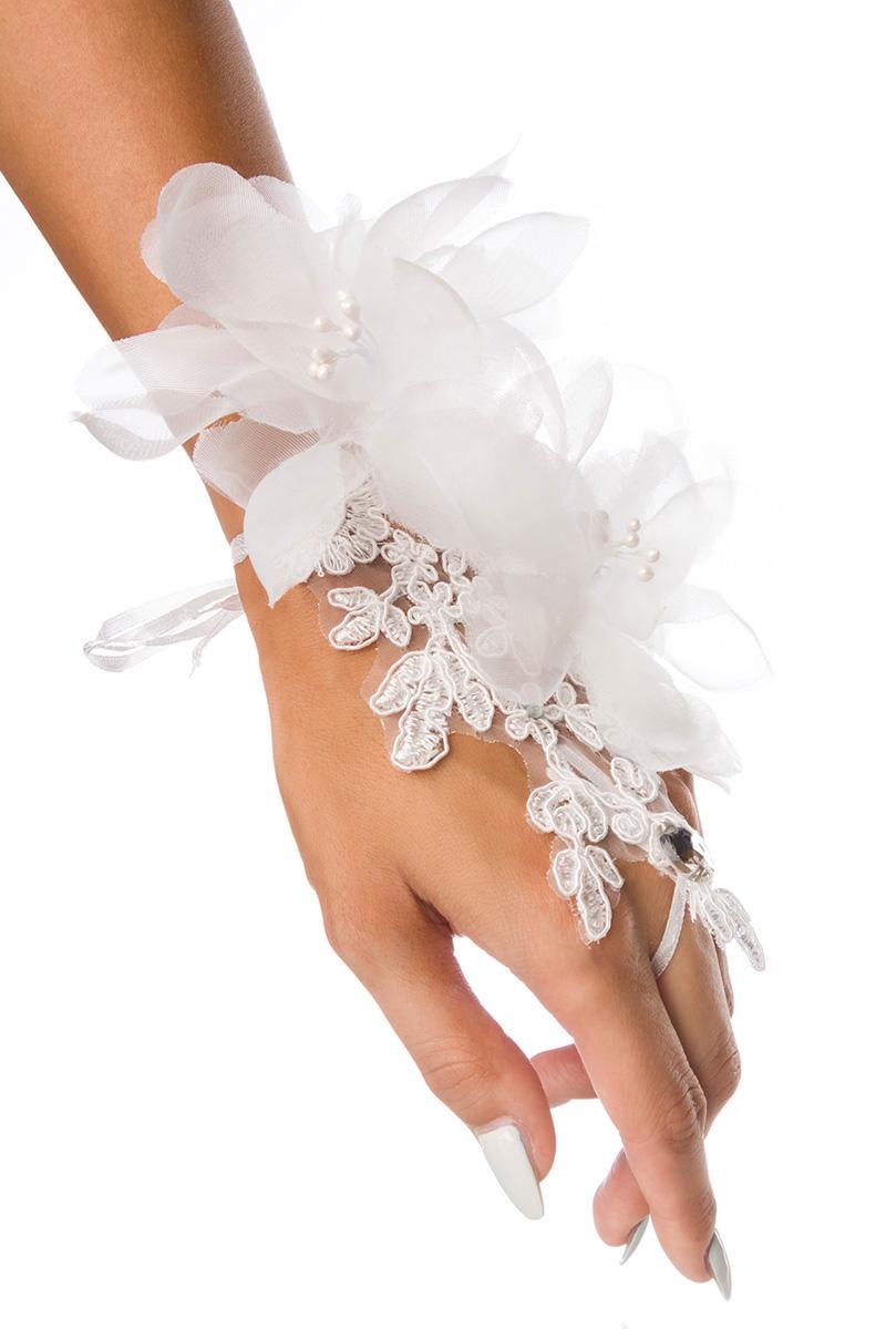 1 Paar weiße Fingerlose Spitzen Handschuhe, Blüten Hochzeit Glamour