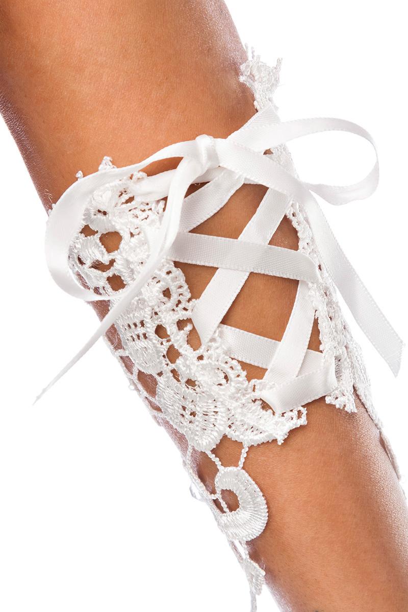 1 Paar weiße Fingerlose Spitzen Handschuhe, Armstulpen Hochzeit