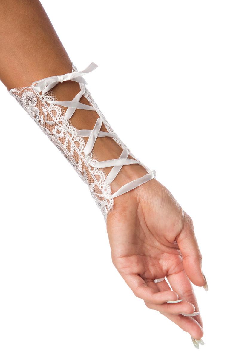 1 Paar weiße Fingerlose Spitzen Handschuhe, Handstulpen Hochzeit