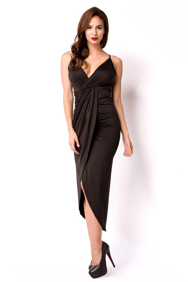 Details zu Kleid schwarz lang, festlich Party, Silvester, Spagettiträger  Damen
