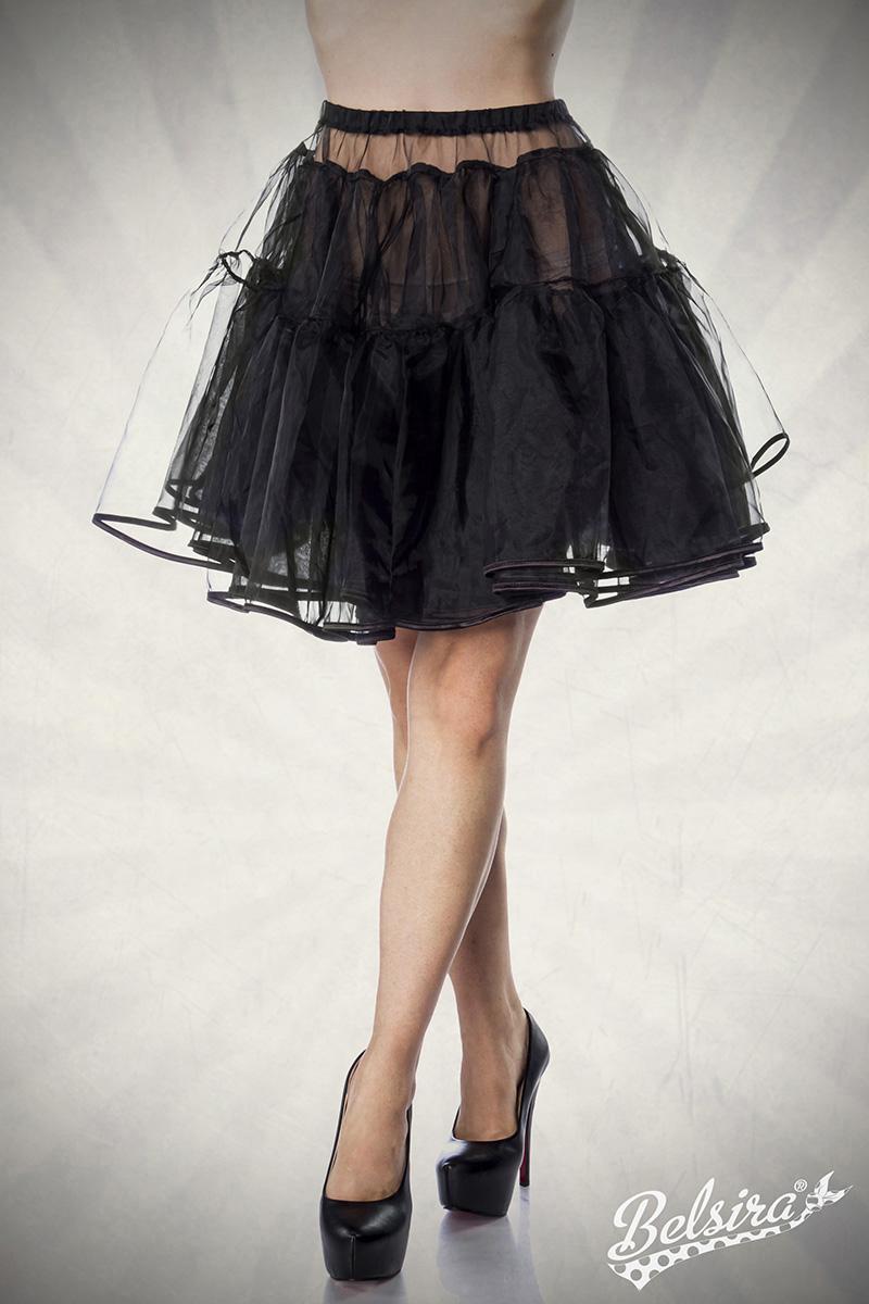 bauschiger Petticoat SCHWARZ Knieumspielend, Damen Dirndl - Kostüme