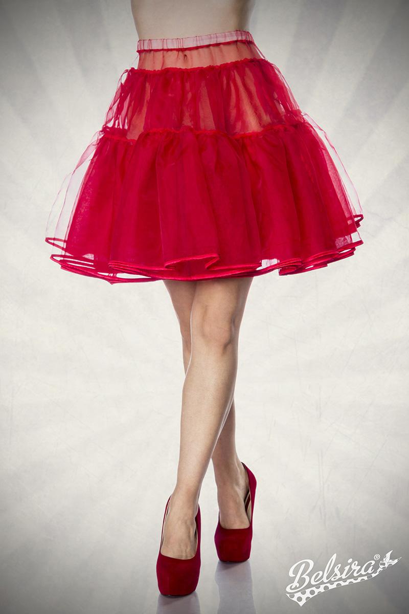 bauschiger Petticoat ROT Knieumspielend, Damen Dirndl - Kostüme