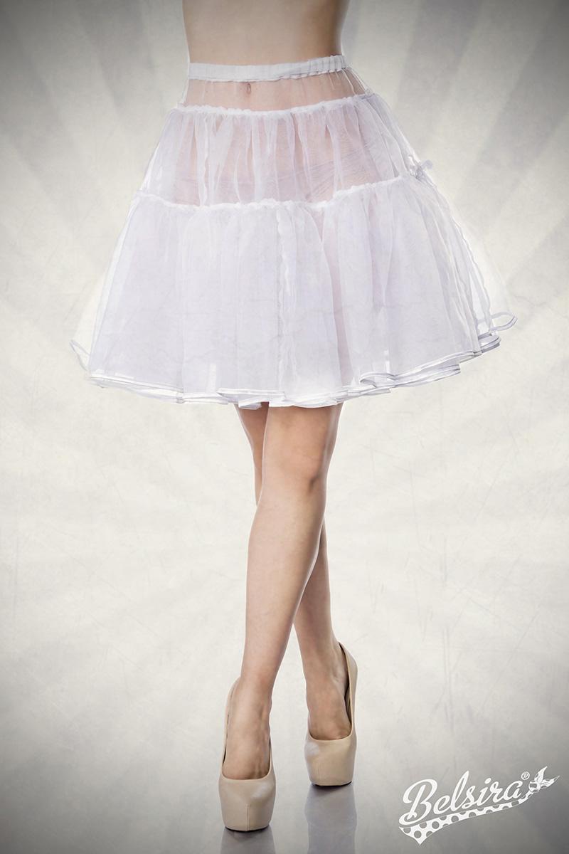 bauschiger Petticoat weiss Knieumspielend, Damen Dirndl - Kostüme