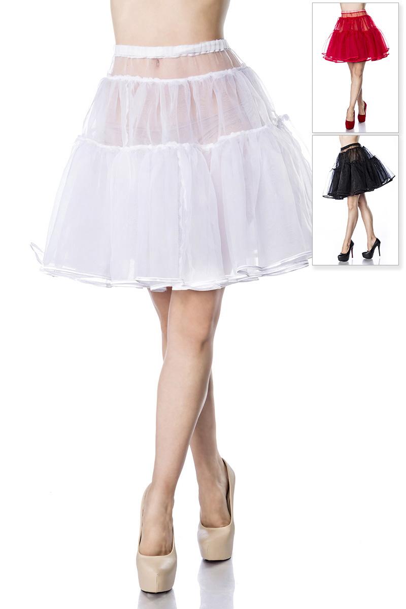 bauschiger Petticoat weiss,rot,schwarz Knielang, Damen Dirndl
