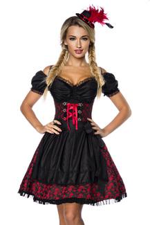 Sexy Dirndl, Bluse u. Schürze, Kostüm rot schwarz Jacquard Damen