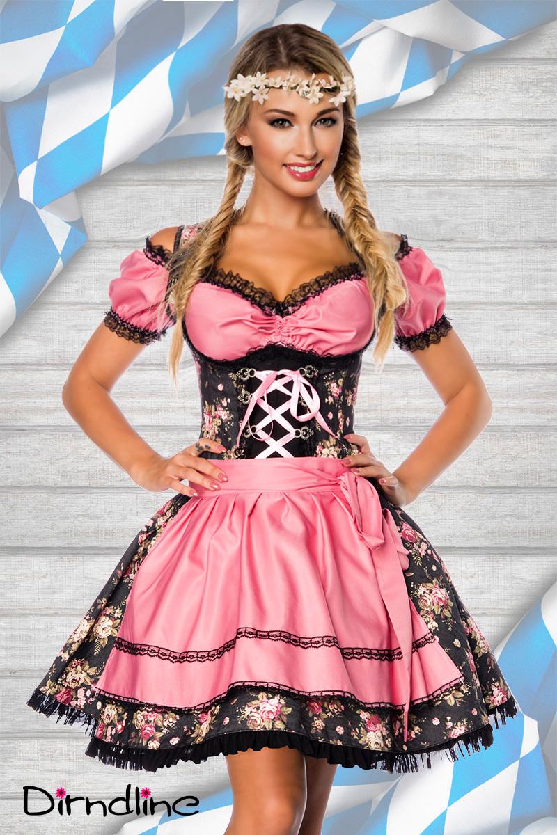 3 tlg. sexy Dirndl, Bluse, Schürze Premium aus edlem Denim Damen rosa schwarz
