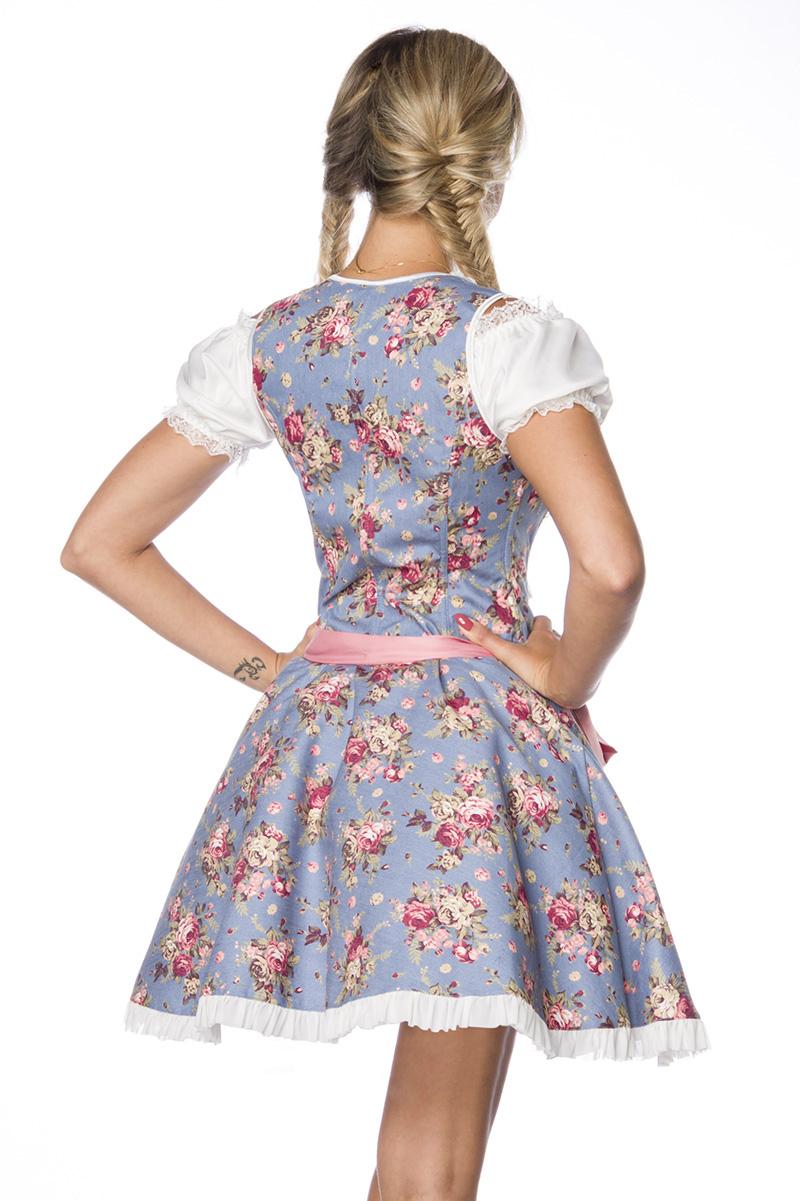3 tlg. sexy Dirndl, Bluse, Schürze Premium aus edlem Denim Damen blau rosa