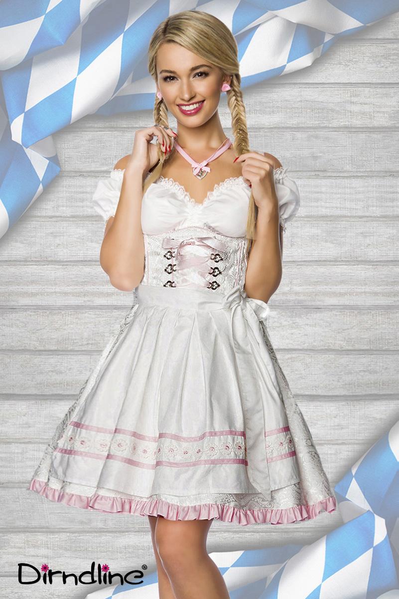 Dirndl Kleid Kostüm WEISS Pastell Damen Oktoberfest Trachtenkleid 34-46
