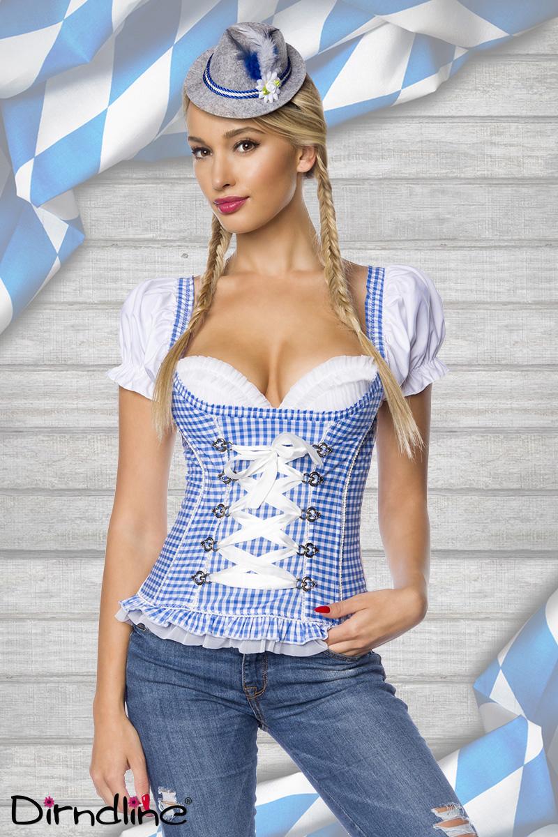 Trachtenmieder Corsage Bluse Trachtenmode Kostüm Oktoberfest blau-weiss