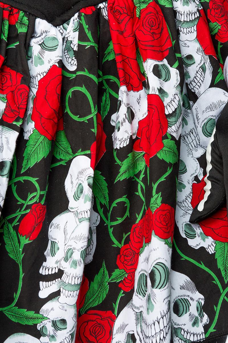 6 tlg. Kostüm Damen DIA DE LOS MUERTOS  Halloween Totenkopf rot-weiß-schwarz