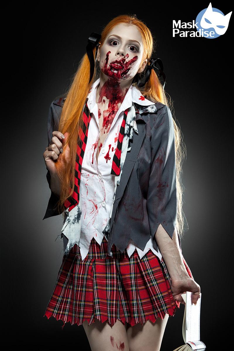 5 tlg Sexy Zombie Schoolgirl Komplettset Kostüm Damen