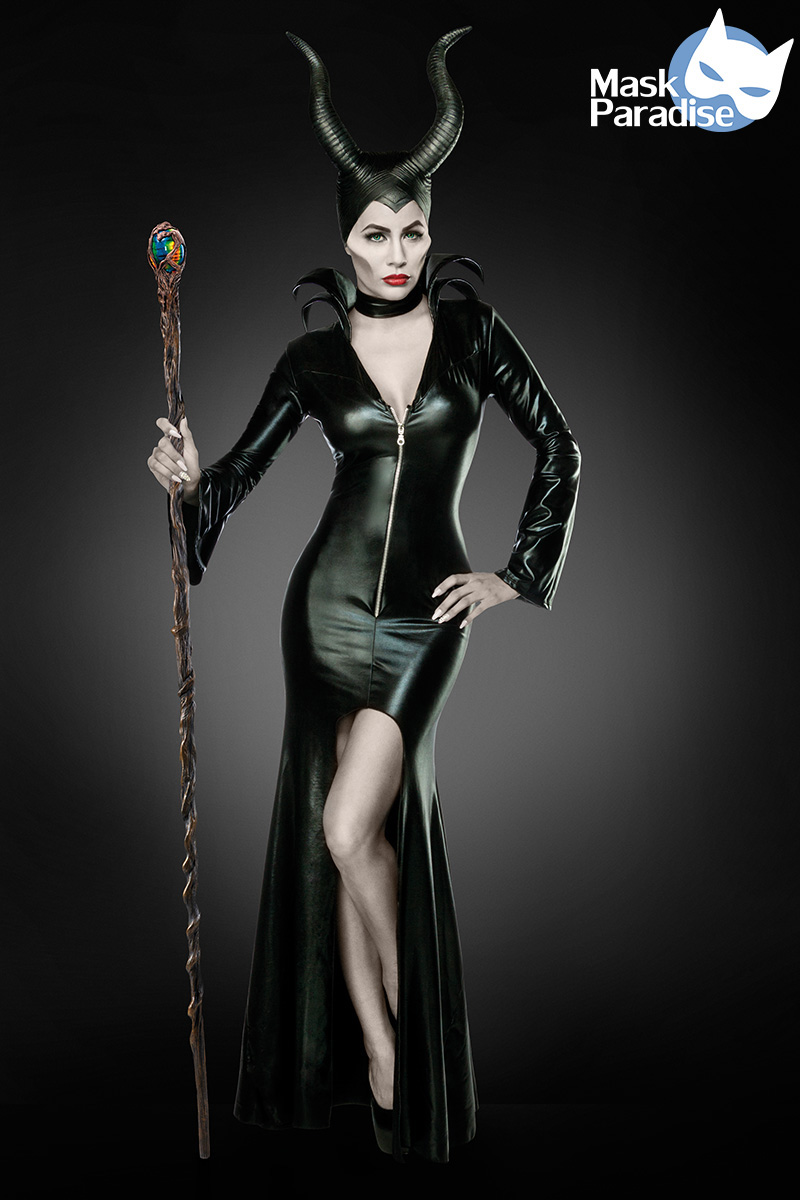 3 tlg. Maleficent Kostüm,Herrin, Teufel, schwarz Damen Halloween