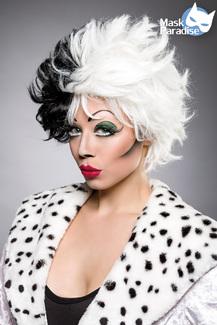 Dalmatiner Perücke Cruella schwarz-weiss, Kurzhaar Damen schwarz weiss