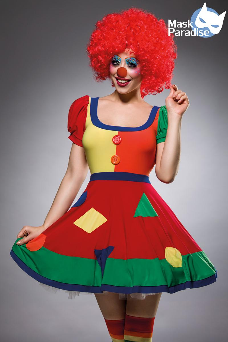4 tlg Komplettset Funny Clown Damen Kostüm,Perücke,Strümpfe,Nase