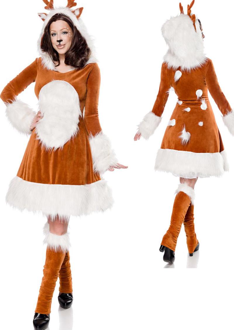 3 Tlg Rehkitz Reh Kostum Bambi Tiere Braun Damen Kleid Haarreif