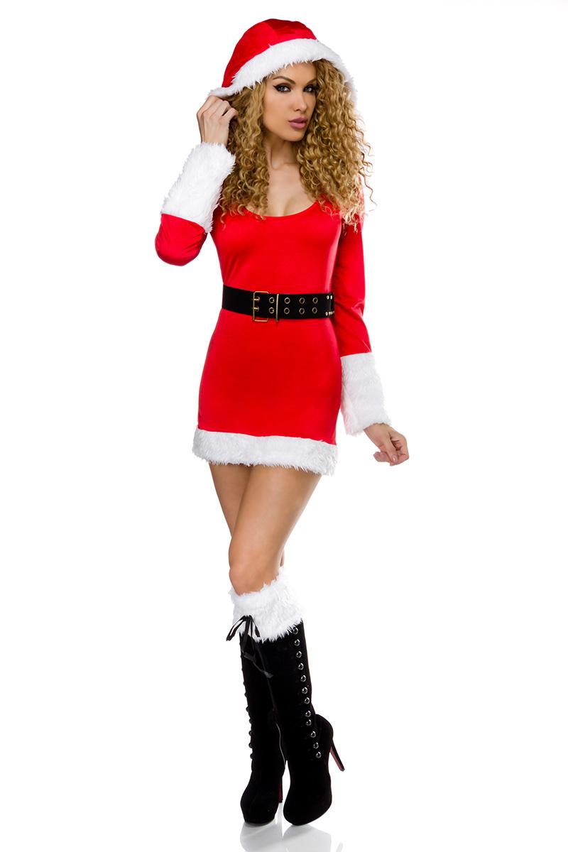 Weihnachtskostüm Kleid, Minikleid, 2 Stulpen, Gürtel, String Damen