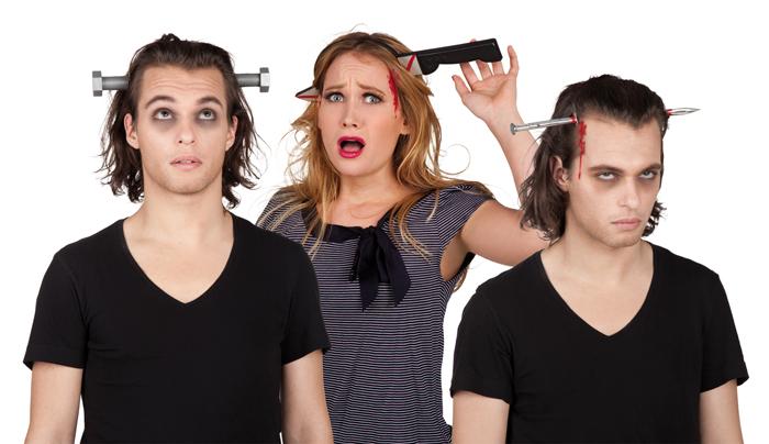 Haarreif Schraube, Nagel, Messer im Kopf, Horror, Halloween
