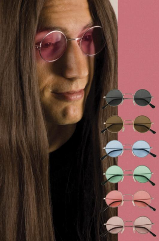 Brille Lennon rund 70er Jahre, schwarz, orange, braun, grün, rosa,blau